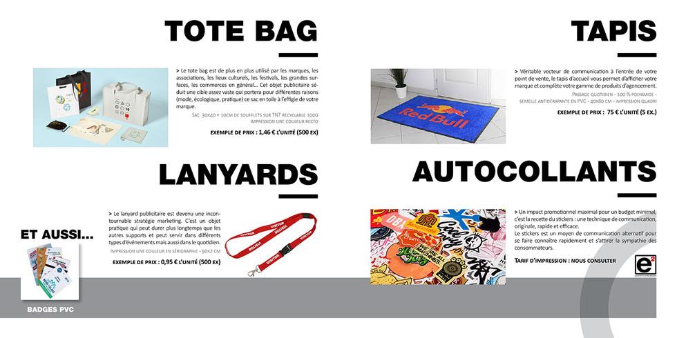 Catalogue E2COM / Tote bag, lanyards, tapis & autocollants