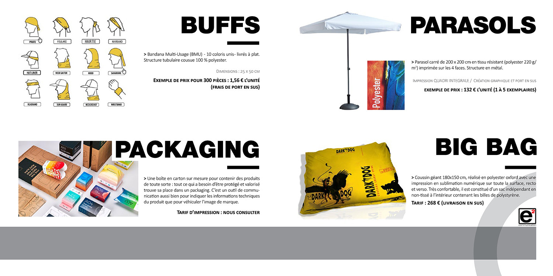 Catalogue E2COM / Buffs, packaging, parasols et big bag