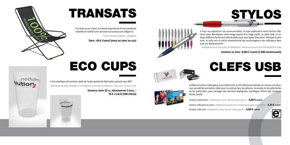 Catalogue E2COM / Transats, eco cups, stylos & clefs usb
