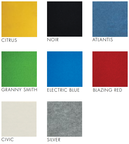 Self Adhesive Pinboard Tiles Colour Swatch