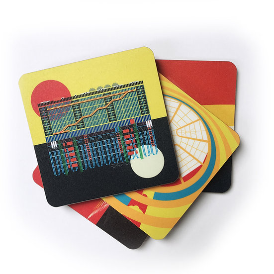 Museums of the World Coaster Set. Pompidou Centre, Louvre, Guggenheim Bilbao, Guggenheim New York coasters