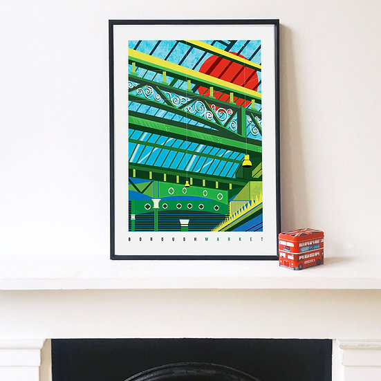 Borough Market London Illustrated Art Print