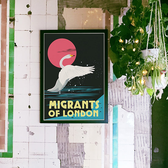 Migrants of London, Illustrated Art Print