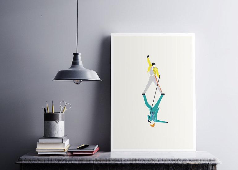 Freddie Mercury David Bowie Under Pressure Art Print