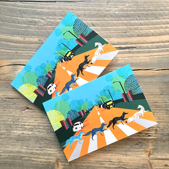 Abbey Road Foxes Greeting Cards