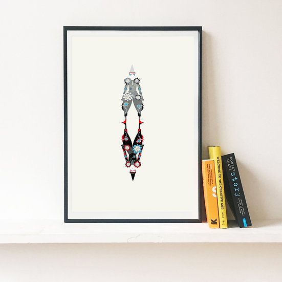 David Bowie The Blue Clown Illustrated Art Print