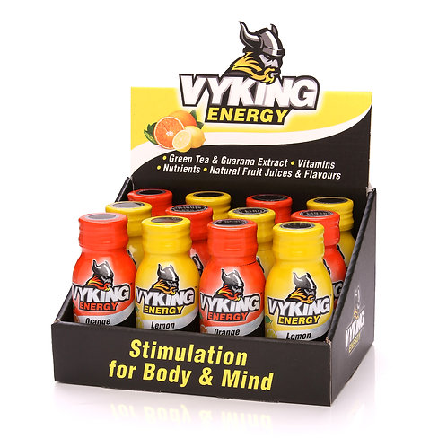 Vyking Energy 12 x 60ml Mix (6 x Orange, 6 x Lemon)