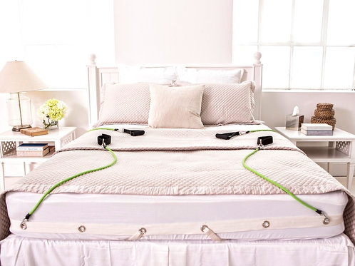 exercise in bed, bedgym on bed with resistance bands