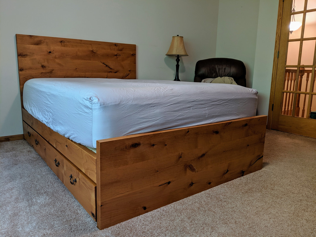 Knotty Alder Bed with Storage Drawers