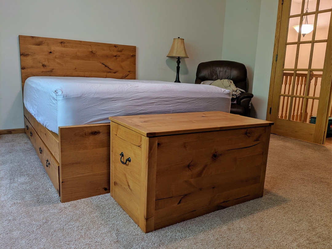 Knotty Alder Bed with Storage Drawers and Matching Trunk
