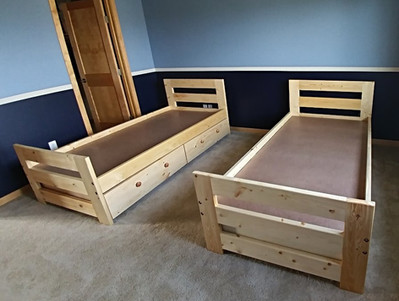 Knotty Pine Twin Beds