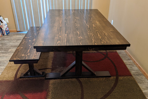Knotty Pine Farm Table with Bench