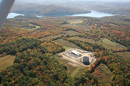 Que lake storage tank pump house aerial