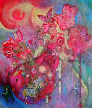 SOLD Pink Flower Lady $700