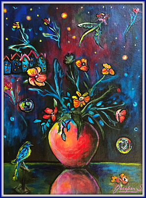 SOLD Flying Flowers No.2 $500