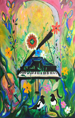 SOLD Piano and Magpies $650