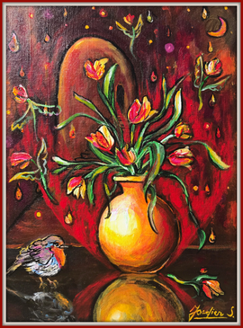 SOLD Flying Flowers No.4 $500