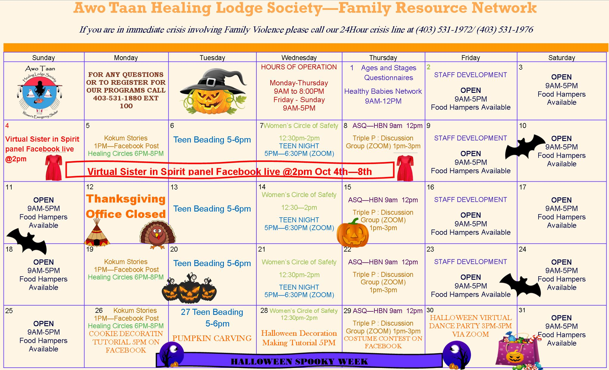 Family resource center October calandar.