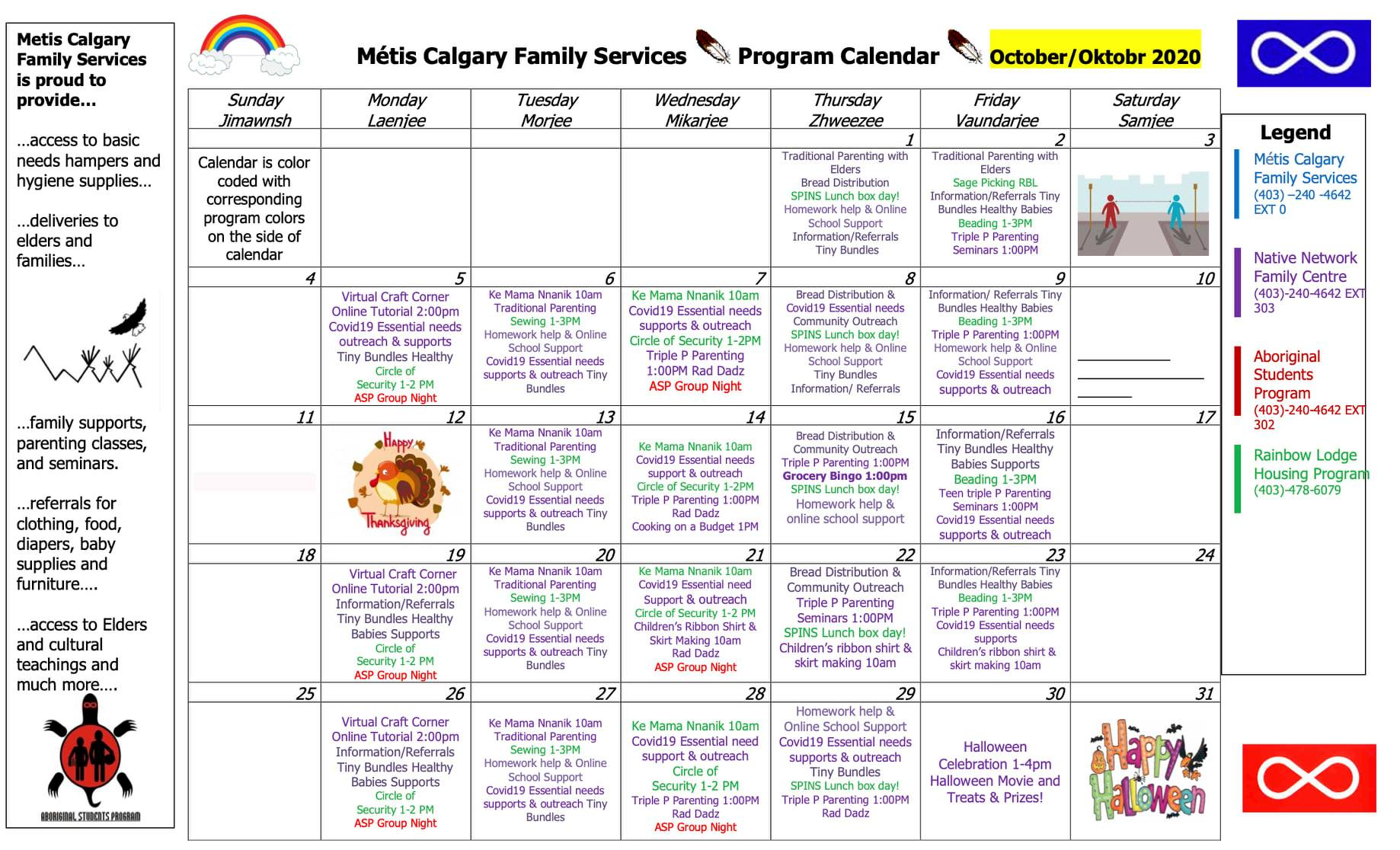 Metis Child & Family schedule Oct