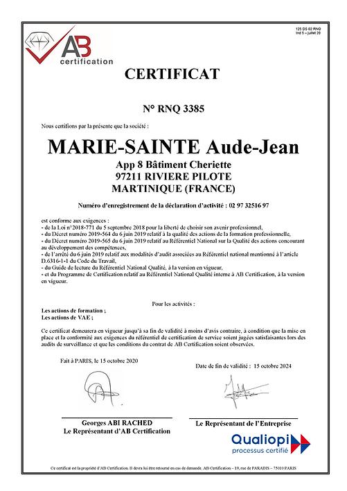 125 DS 02 RNQ - Certificat QUALIOPI - in