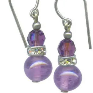 Antique Japanese amethyst beads with amethyst Austrian crystal top beads. Trim is antique silver overlay with rhinestone accents. Sterling silver ear wires.
