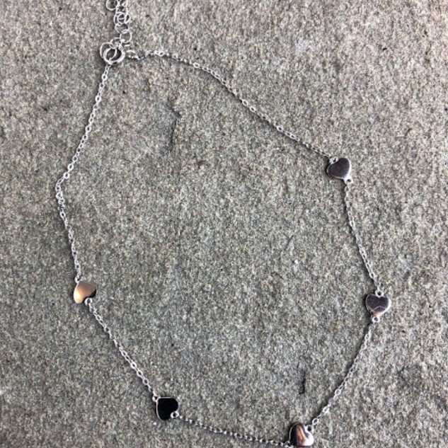 Sterling silver heart adjustable anklet
