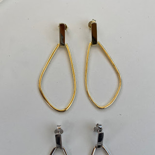Sterling Silver large freeform earrings