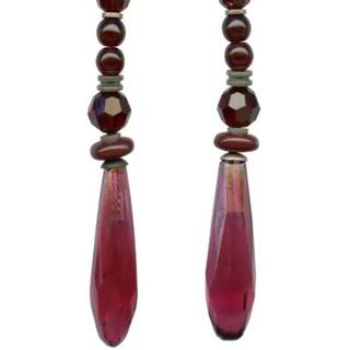 Czech garnet glass and Austrian crystal chandelier earrings. Sterling silver ear wires.