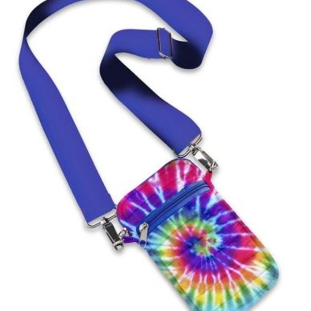 Tye dye crossbody cellphone case with adjustable strap