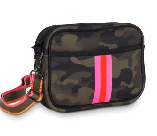 OUT OF STOCK! Neoprene compact crossbody bag with hidden front zipper compartment.