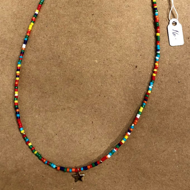 Multicolor-gold star adjustable choker