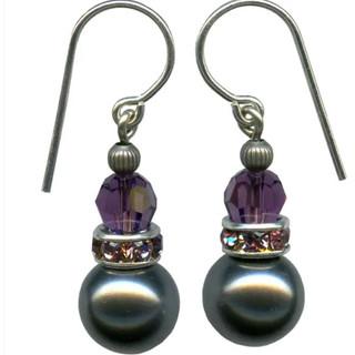 Dark silver drops with amethyst crystal earrings. Sterling silver ear wires.