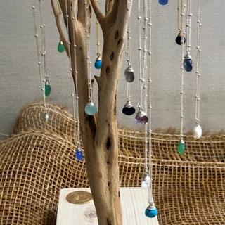 Sterling silver vermeil necklaces with semi-precious stones.