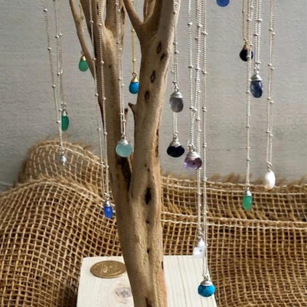Sterling silver vermeil necklaces with semi-precious stones.