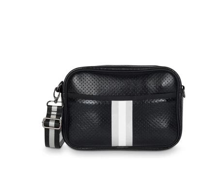 OUT OF STOCK. Neoprene compact crossbody bag with hidden front zipper compartment.