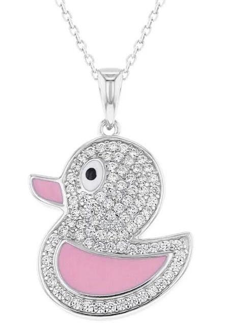 Sterling Silver clear CZ pink enamel Duck necklace