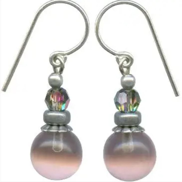 Pale amethyst drops with aurora borealis Austrian crystal accents. Sterling silver ear wires.