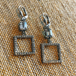 Sterling Silver over copper square hanging earrings with Swarovksi crystals