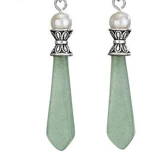 Sterling Silver Pearl top Jade spear earrings