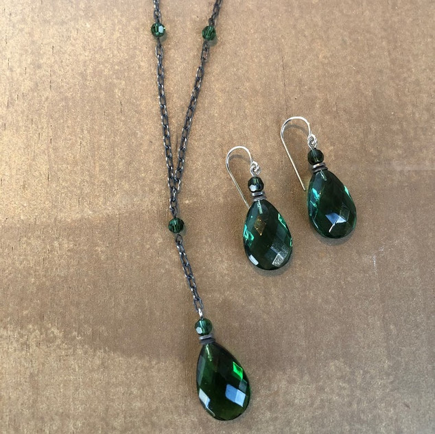 Tourmaline Czech glass with Austrian crystal accents