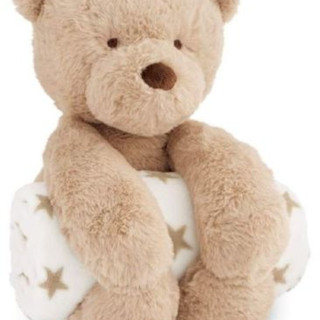 Plush teddy bear with rolled detachable fleece blanket for baby