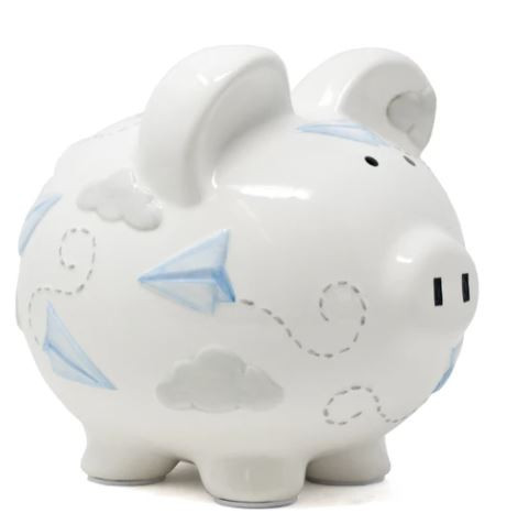 Paper plane piggy bank
