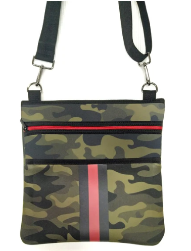 Neoprene crossbody. Includes two adjustable straps.