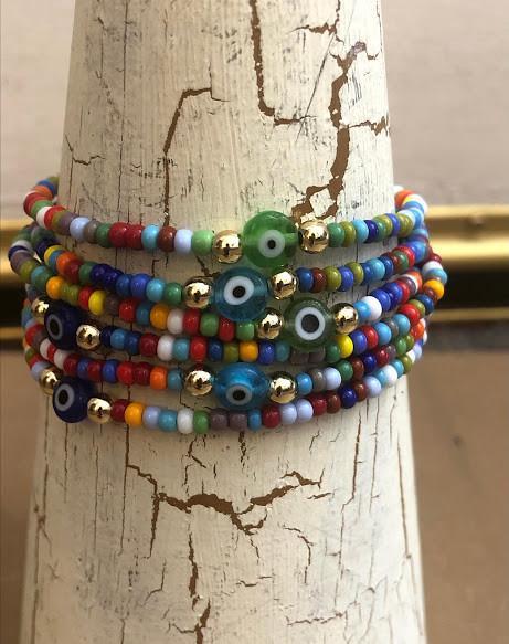 Beaded evil eye bracelets