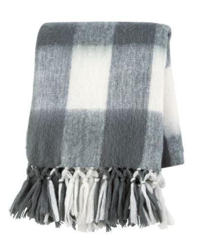 Grey wool plaid throw blanket