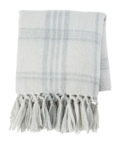 Light grey wool plaid throw blanket