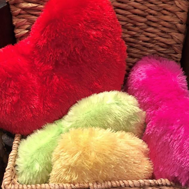 Fuzzy heart pillows