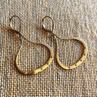14K gold over copper base teardrop with Swarovski crystal earrings