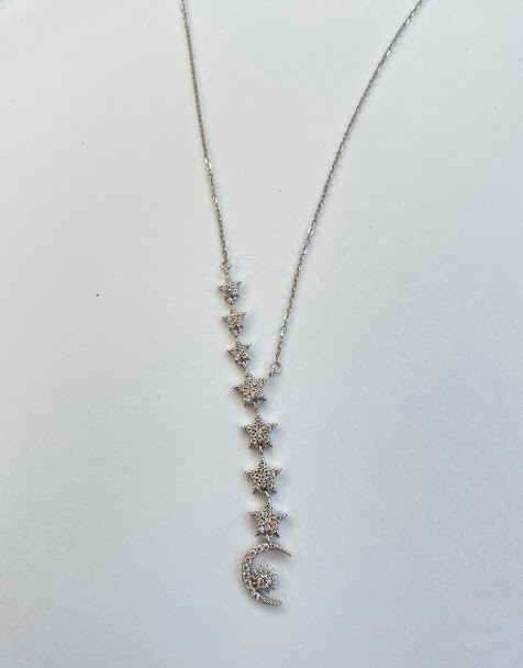 "Sterling silver ""Y"" style sun, moon & star necklace"