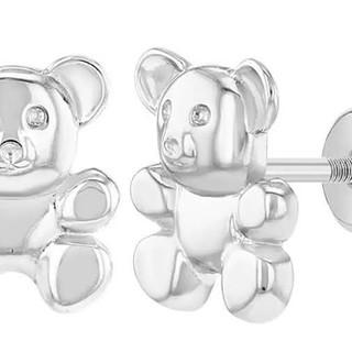 Sterling Silver teddy bear earrings with screw back